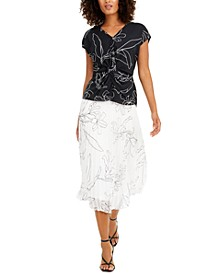 Twist-Front Top & Midi Skirt, Created for Macy's