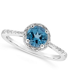 Blue Topaz (1 ct. t.w.) and Diamond Accent Ring in Sterling Silver (Also Available in Other Gemstones)