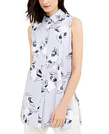 Petite Leaf-Print Tunic, Created for Macy's