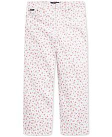 Big Girls Floral Wide-Leg Crop Jeans