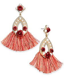 Two-Tone Crystal & Imitation Pearl Rosette Fringe Oval Drop Earrings, Created for Macy's