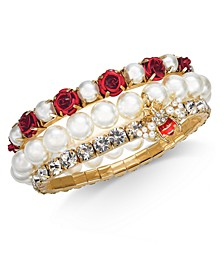 Two-Tone 3-Pc. Set Crystal, Imitation Pearl & Rosette Bee Charm Stretch Bracelets, Created for Macy's