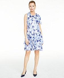 Robbie Bee Petite Tiered Floral-Print Dress