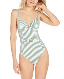 Striped Danielle Underwire One-Piece Swimsuit, Created for Macy's