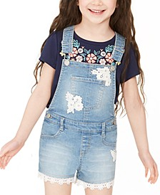 Toddler Girls Crocheted Denim Shortalls, Created for Macy's