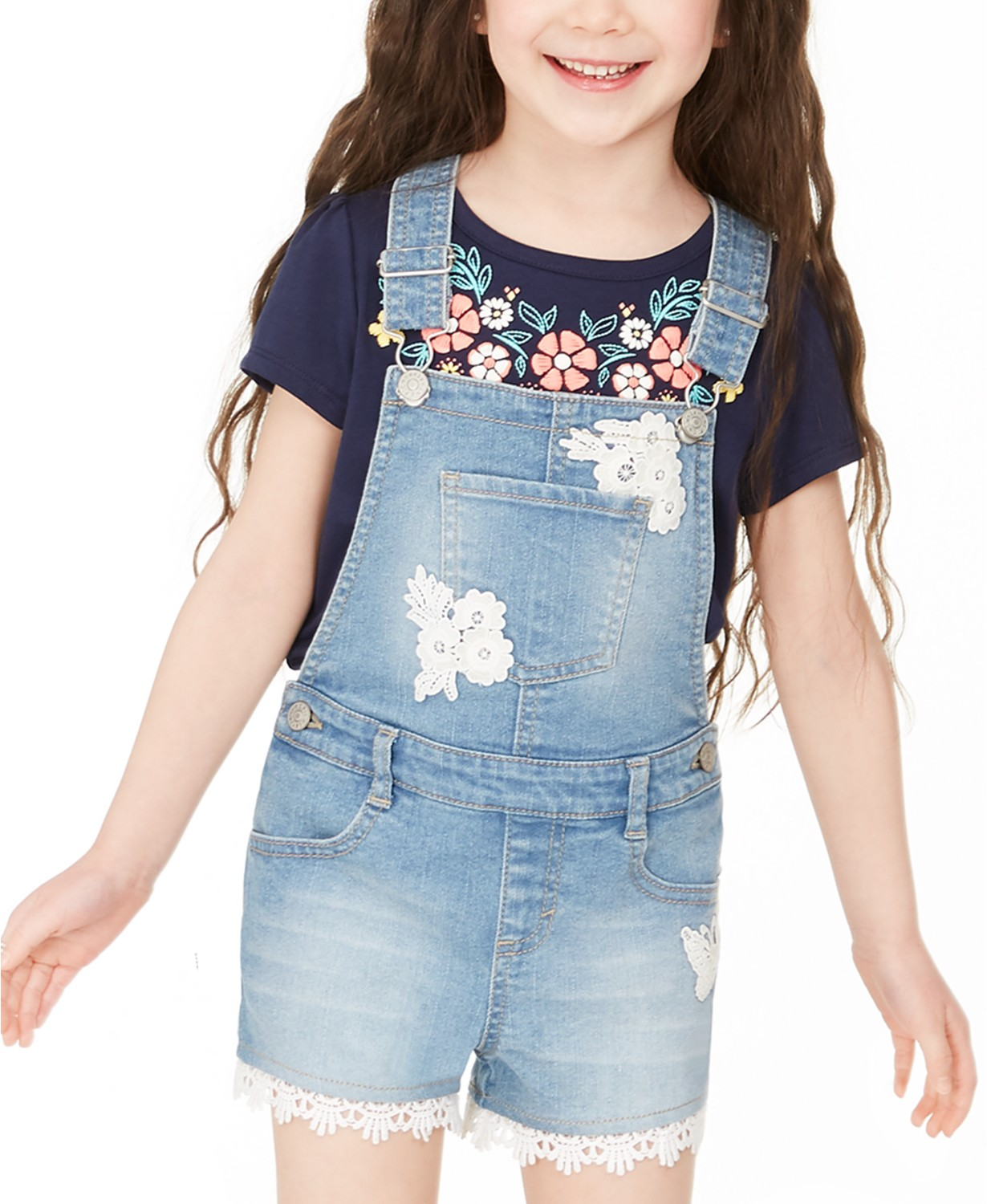 Epic Threads Toddler Girls Crocheted Denim Shortalls, Created For Macy's