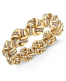 Gold-Tone Pavé Love Knot Stretch Bracelet, Created for Macy's