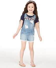 Little Girls Crocheted Denim Shortalls, Created for Macy's