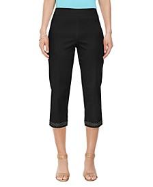 Embellished-Hem Straight-Leg Capri Pants, Created for Macy's