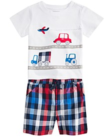 Baby Boys Trucks T-Shirt & Plaid Shorts Separates, Created for Macy's