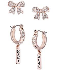 Rose Gold-Tone 2-Pc. Set Pavé Bow & Mama Charm Earrings