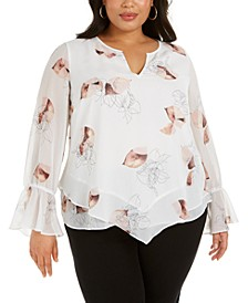 Plus Size Printed Bell-Sleeve Blouse, Created for Macy's