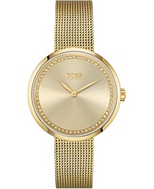 Women's Praise Gold-Tone Stainless Steel Mesh Bracelet Watch 36mm