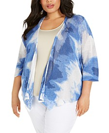 Plus Size Printed Drape-Front Linen Cardigan Sweater, Created for Macy's