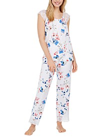 Lace-Trim Floral-Print Pajama Set, Created for Macy's