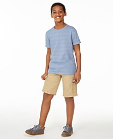 Big Boys Textured Stripe T-Shirt & Hammock Cargo Shorts, Created for Macy's