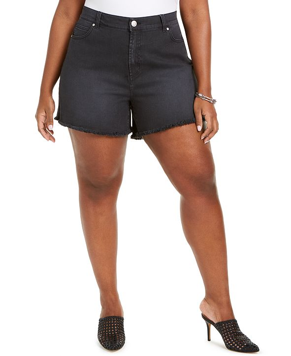 Celebrity Pink Trendy Plus Size Frayed Shorts