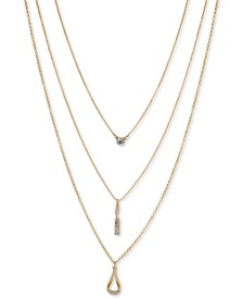 "Gold-Tone Crystal Triple-Row Pendant Necklace, 18"" + 3"" extender"