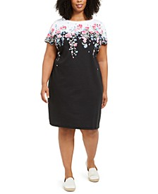 Plus Size Floral-Print Knit Dress, Created for Macy's