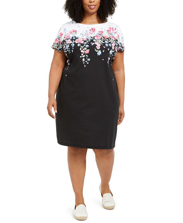 Karen Scott Plus Size Floral-Print Knit Dress, Created for Macy's