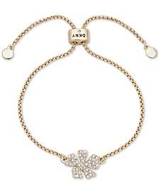 Gold-Tone Pavé Flower Slider Bracelet
