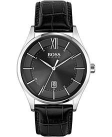 Men's Distinction Black Leather Strap Watch 42mm