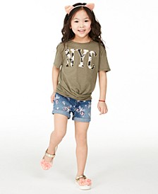 Big Girls Camo-Print NYC T-Shirt & Butterfly Denim Shorts Separates, Created for Macy's