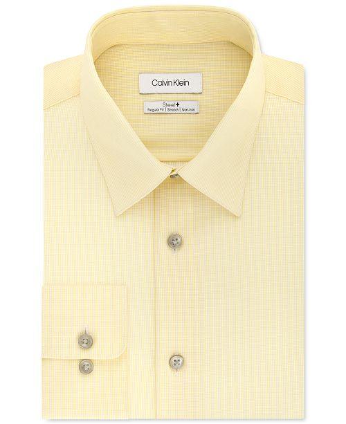Calvin Klein Calvin Klein Men's Steel+ Classic-Fit Lemon Glaze Check Dress Shirt