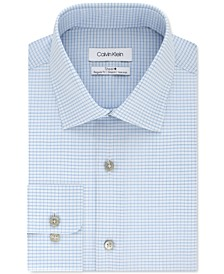 Calvin Klein Men's Steel+ Classic-Fit Blue Cloud Check Dress Shirt