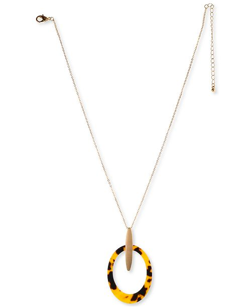 """Charter Club Gold-Tone Tortoise-Look Oval Pendant Necklace, 21"""" + 3"""" extender, Created For Macy's"""