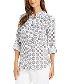 Printed Tab-Sleeve Shirt, Created for Macy's