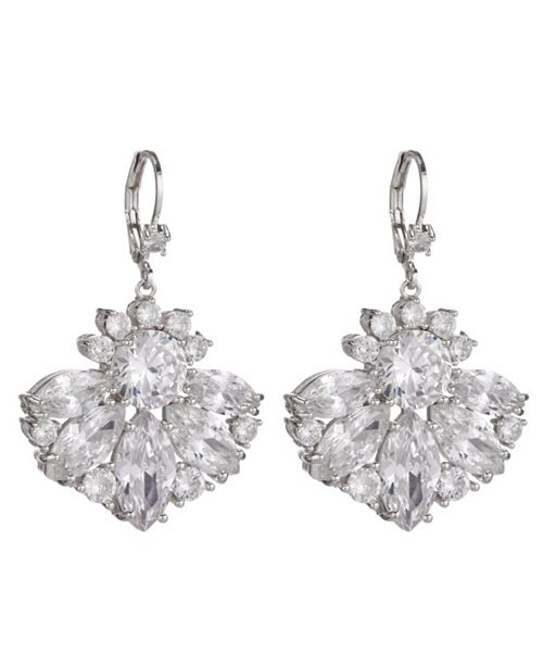Nina Cubic Zirconia Fan Pattern Lever-Back Earrings