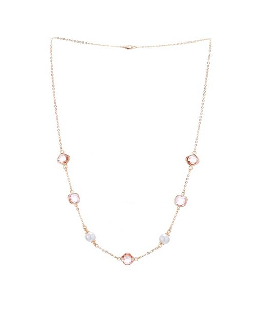 "Nina 20"" Station Bezel Stone and Pearl Necklace with Extender"