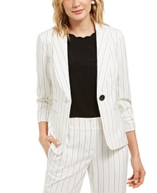 Stitched Striped Shawl-Collar One-Button Blazer