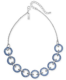 "INC Silver-Tone Pavé Link Statement Collar Necklace, 18"" + 3"" extender, Created for Macy's"