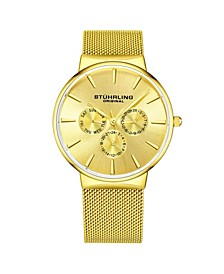 Men's Gold Tone Mesh Stainless Steel Bracelet Watch 39mm