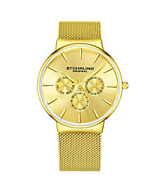 Stuhrling Men's Gold Tone Mesh Stainless Steel Bracelet Watch 39mm