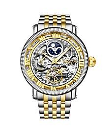 Men's Gold - Silver Tone Stainless Steel Bracelet Watch 49mm