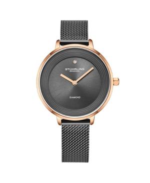 Stuhrling-Womens-Metal-Gray-Mesh-Stainless-Steel-Bracelet-Watch-37mm