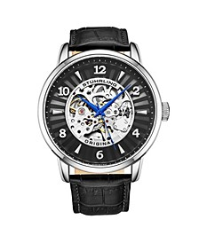 Men's Black Leather Strap Watch 48mm