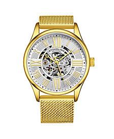 Stuhrling Men's Gold Tone Stainless Steel Bracelet Watch 42mm