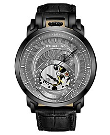 Men's Black Leather Strap Watch 44mm
