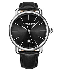 Men's Black Leather Strap Watch 42mm