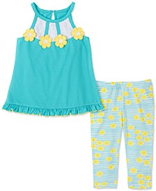 Little Girls 2-Pc. Flower Tunic & Floral-Print Capri Leggings Set