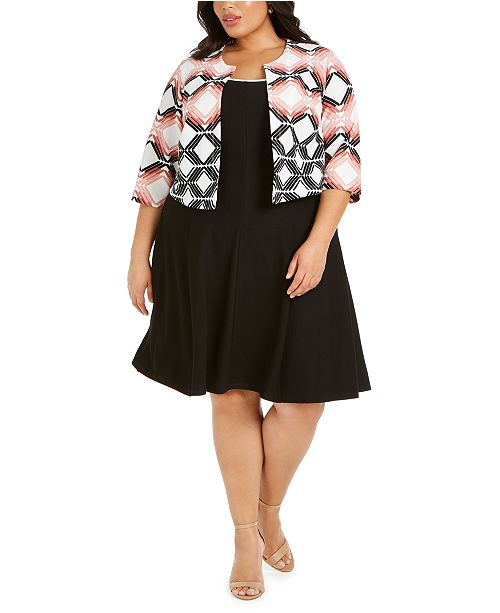 Robbie Bee Plus Size Geometric-Print Jacket & A-Line Dress