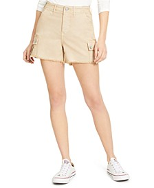 Raw-Edge High-Rise Cargo Shorts