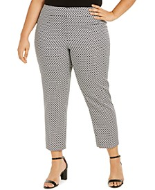 Plus Size Geometric Slim-Leg Ankle Dress Pants