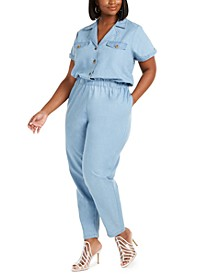 Trendy Plus Size Chambray Boilersuit