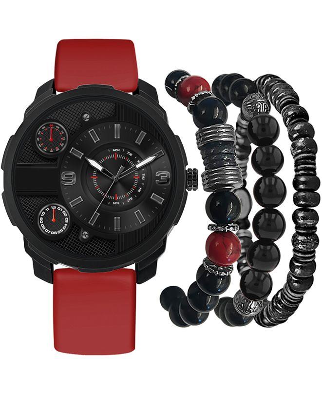 American Exchange Men's Red Strap Watch 46mm Gift Set