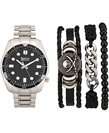 Men's Silver-Tone Bracelet Watch 46mm Gift Set